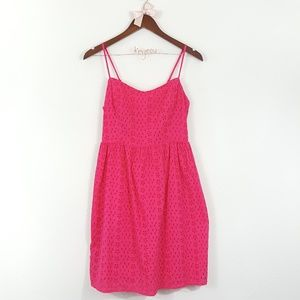 Old Navy Eyelet Floral Pink Red Sun Dress S